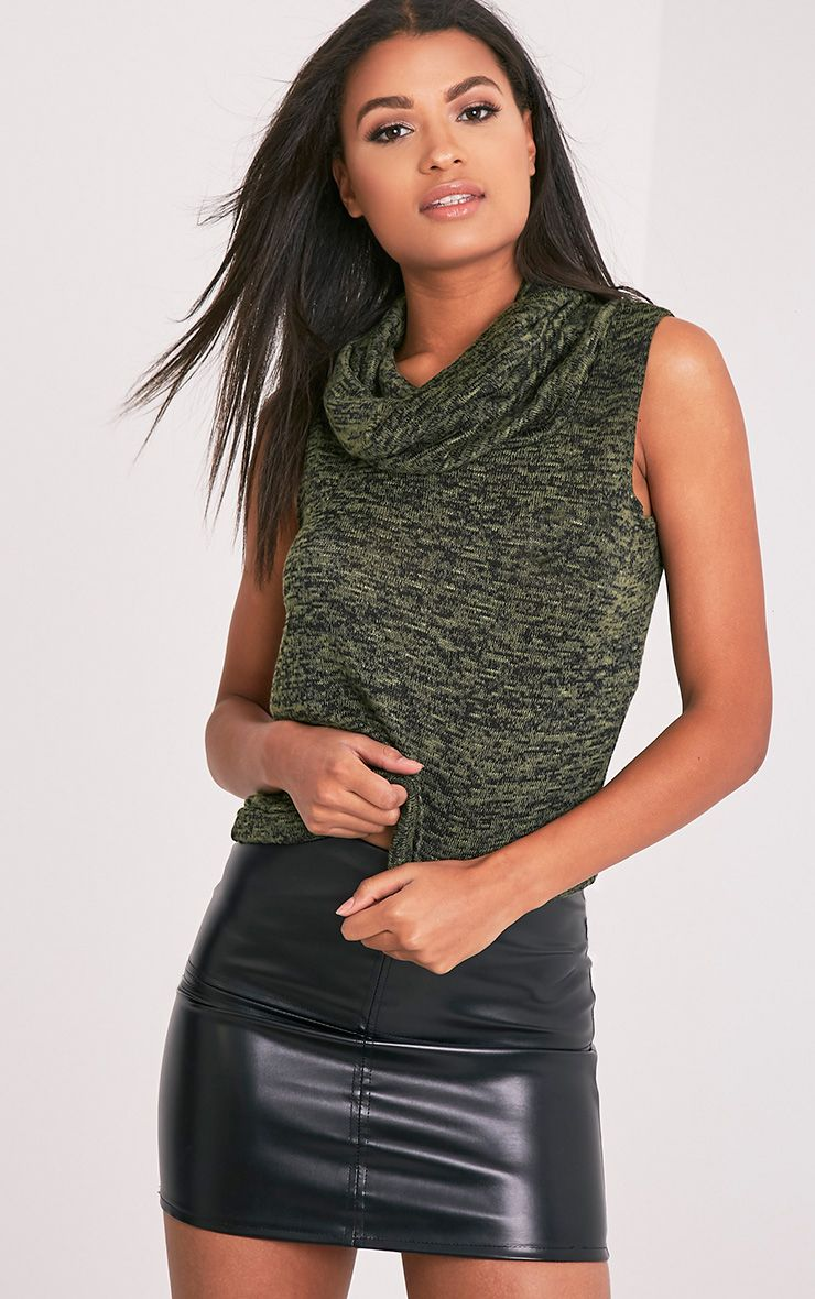 Owena Khaki Sleeveless Cowl Neck Top
