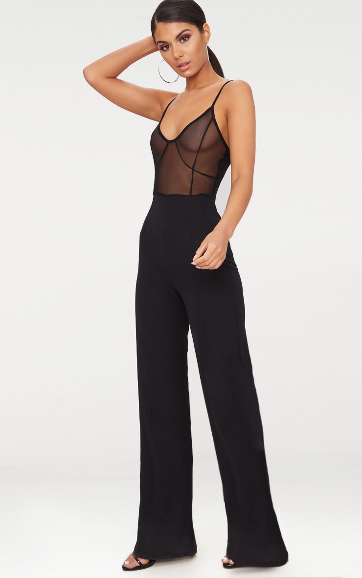 Black Mesh Strappy Wide Leg Jumpsuit