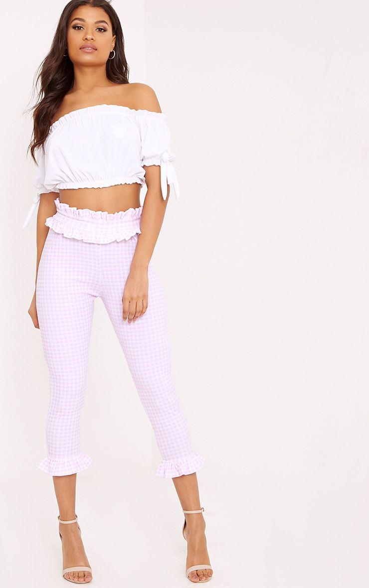 Keren Pink Gingham Frill Hem Trousers