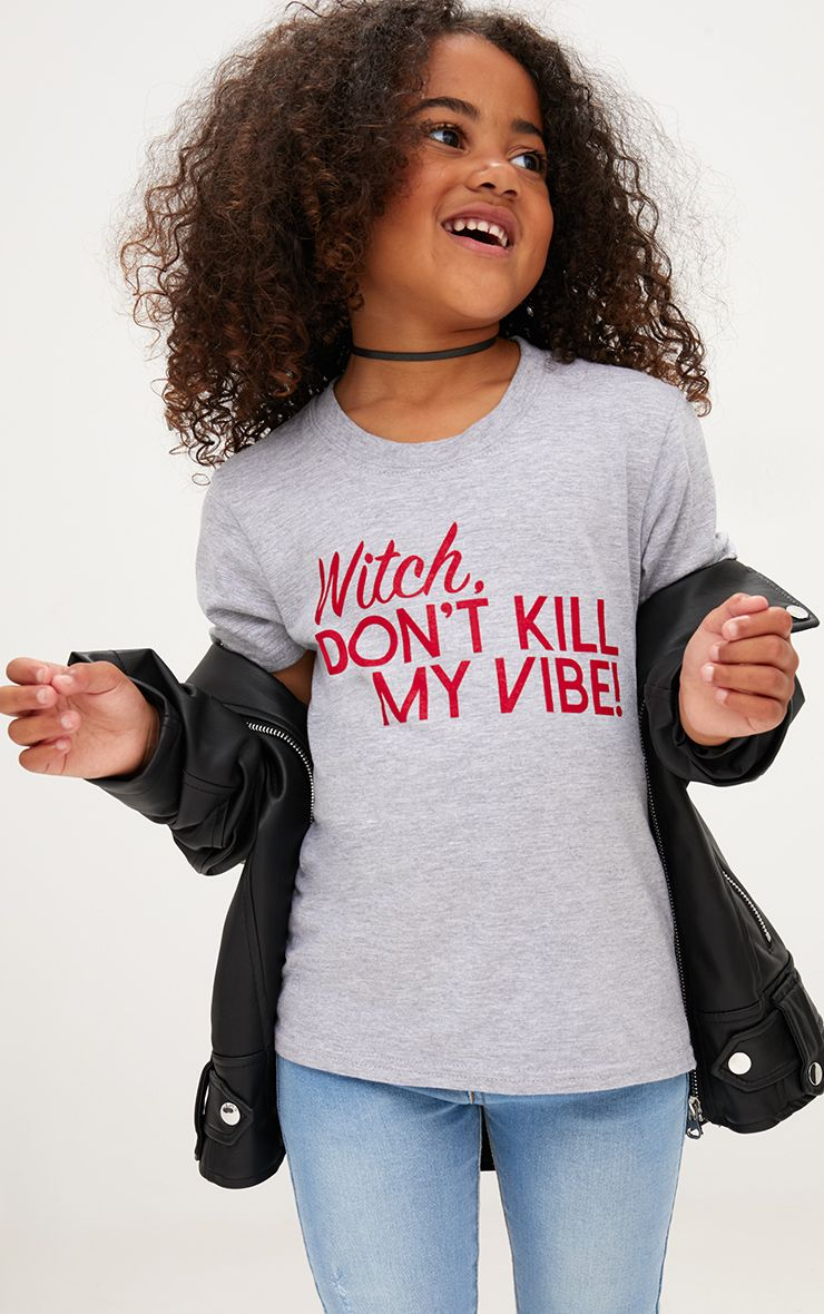 Witch Don& 39;t Kill My Vibe Grey Marl Halloween T Shirt