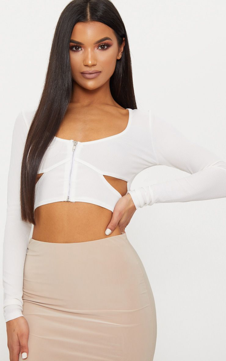 White Rib Zip Front Cut Out Long Sleeve Crop Top