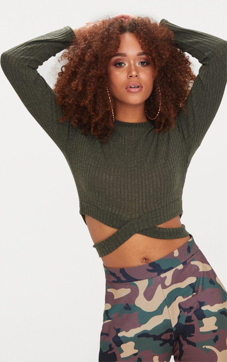 Khaki Crossover Knit Top