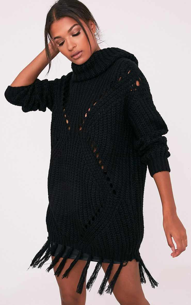 Raynah Black Roll Neck Fringed Hem Jumper