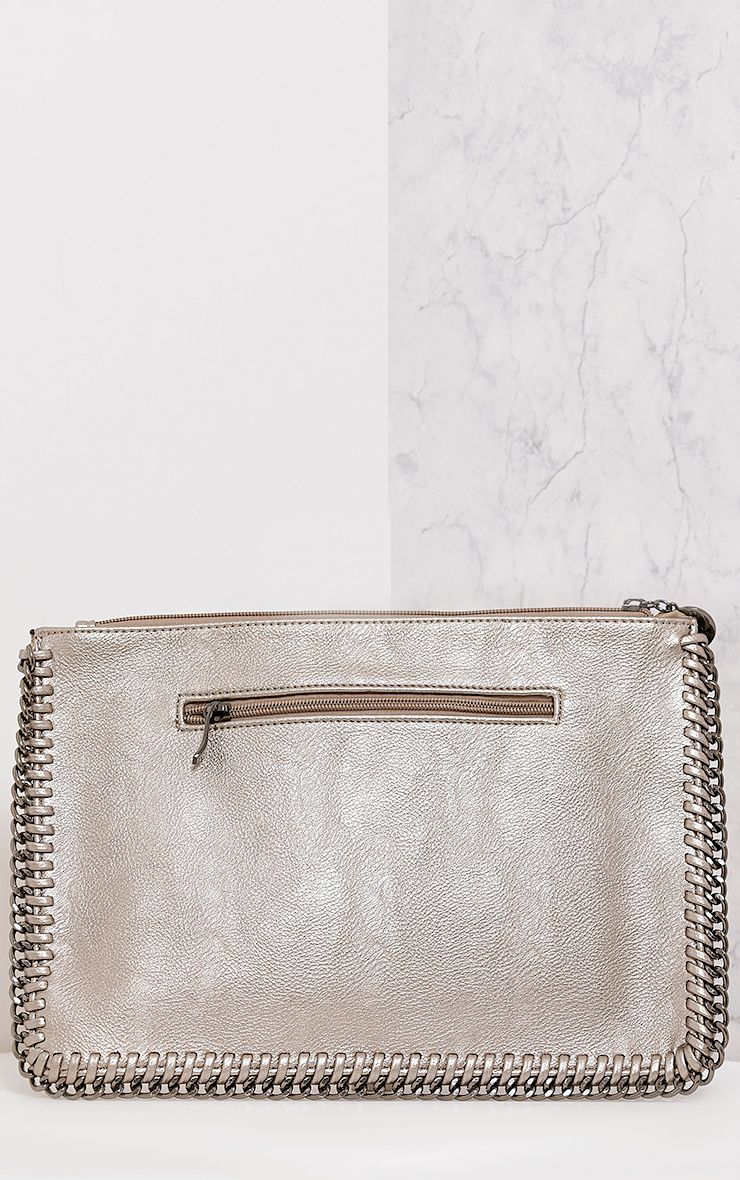 Wilfrie Pewter Oversized Chain Detail Bag   3