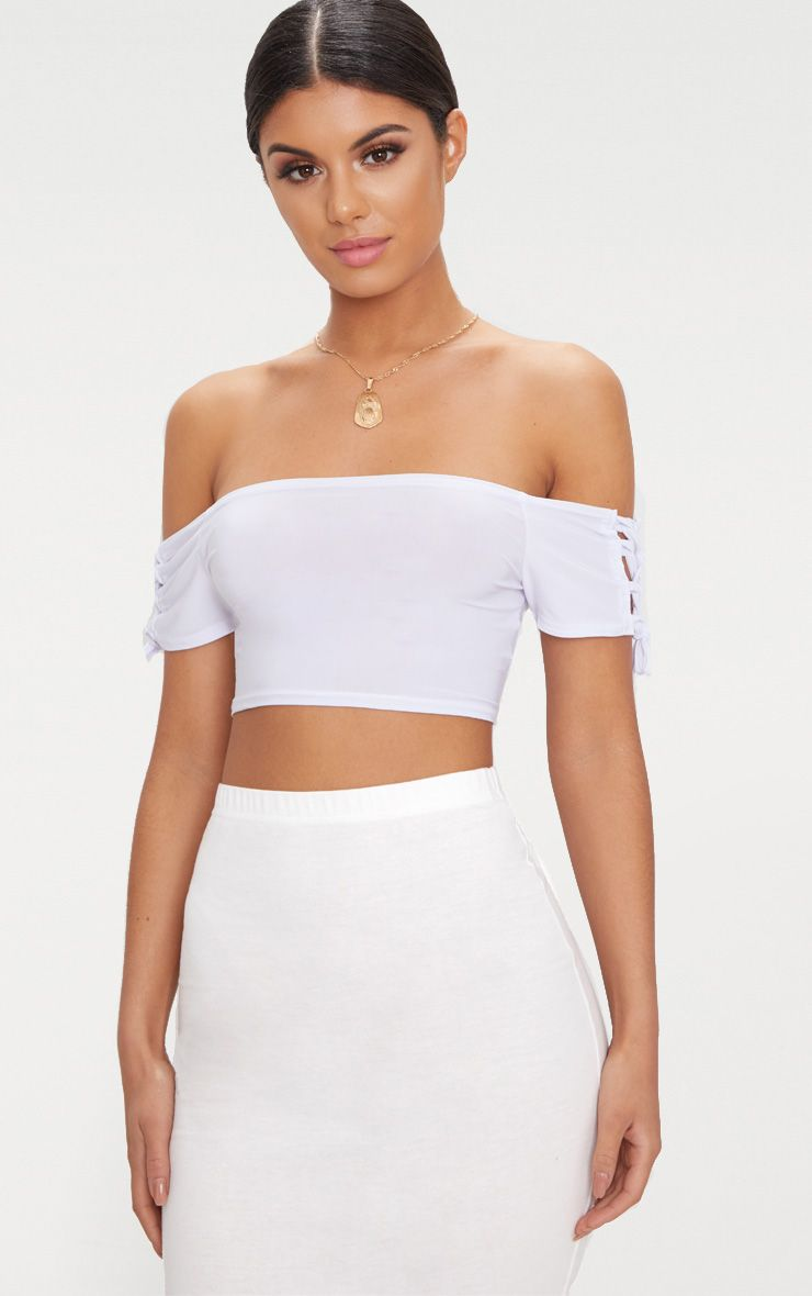 White Slinky Lace Up Sleeve Bardot Crop Top