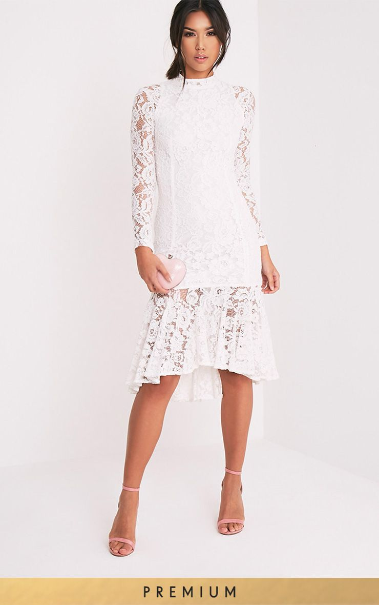 Ellina White Premium Lace Fishtail Midi Dress