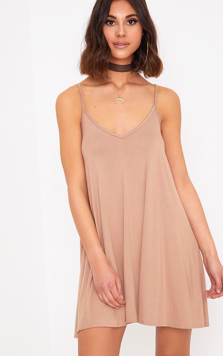 Sand Strappy Swing Dress