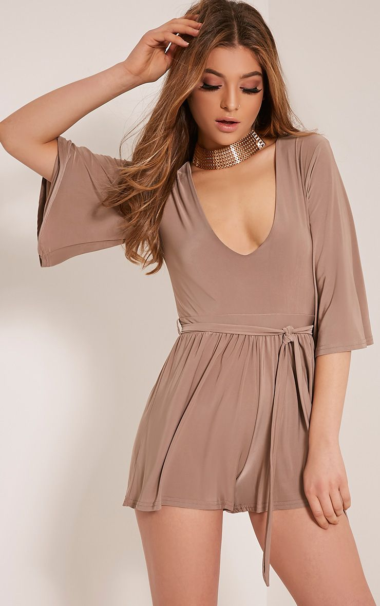 Sharnah Taupe Kimono Sleeve Plunge Playsuit