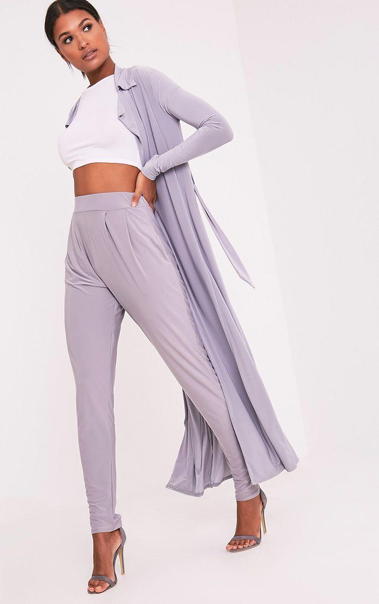 Rinda Grey Slinky High Waisted Peg Trousers  1