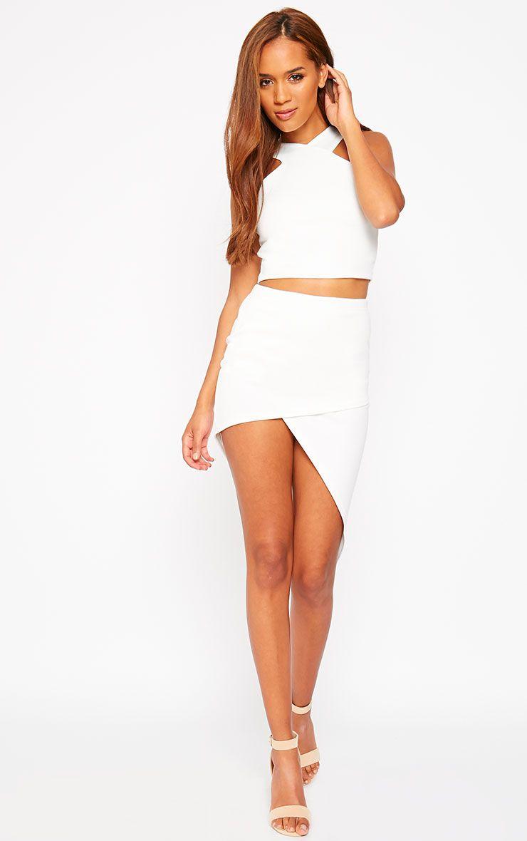 Tiff Cream Wrap Hem Scuba Skirt 1