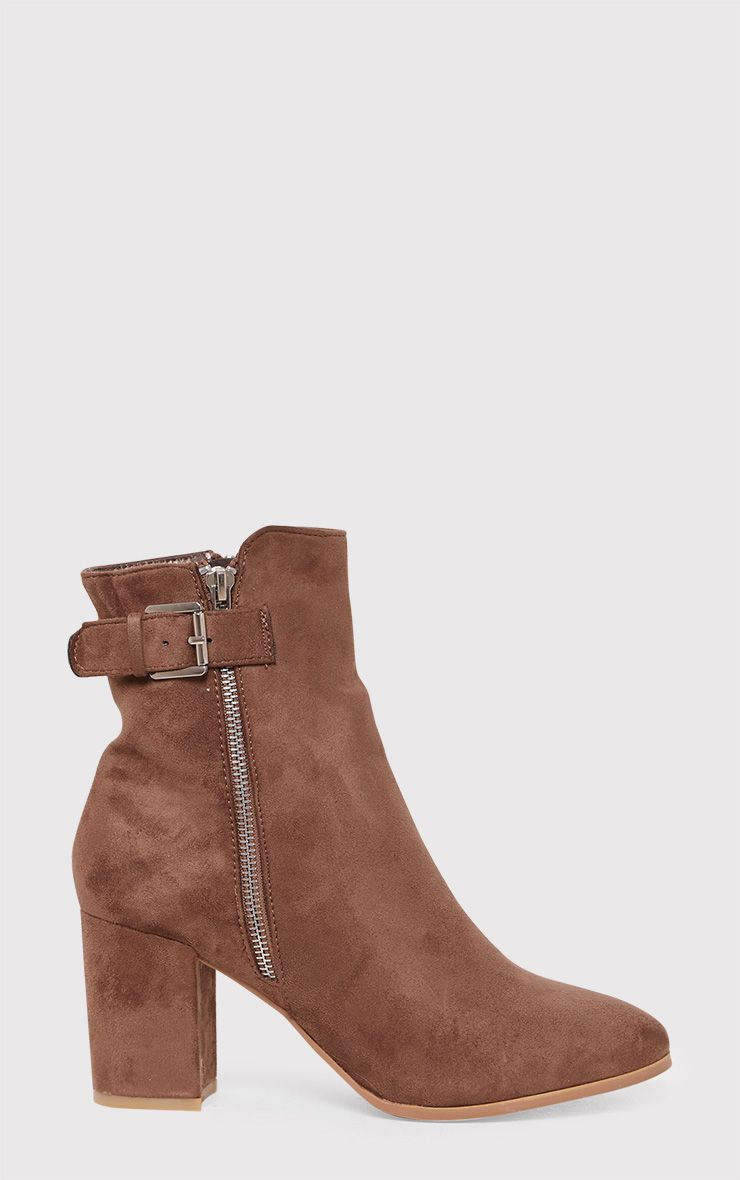 Karina Mocha Faux Suede Buckle Ankle Boots 1