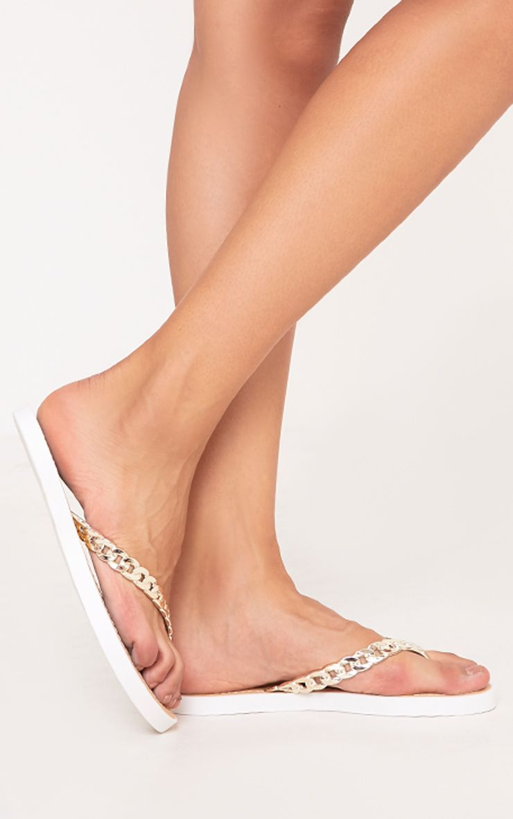 Anyia Gold Chain Flip Flops