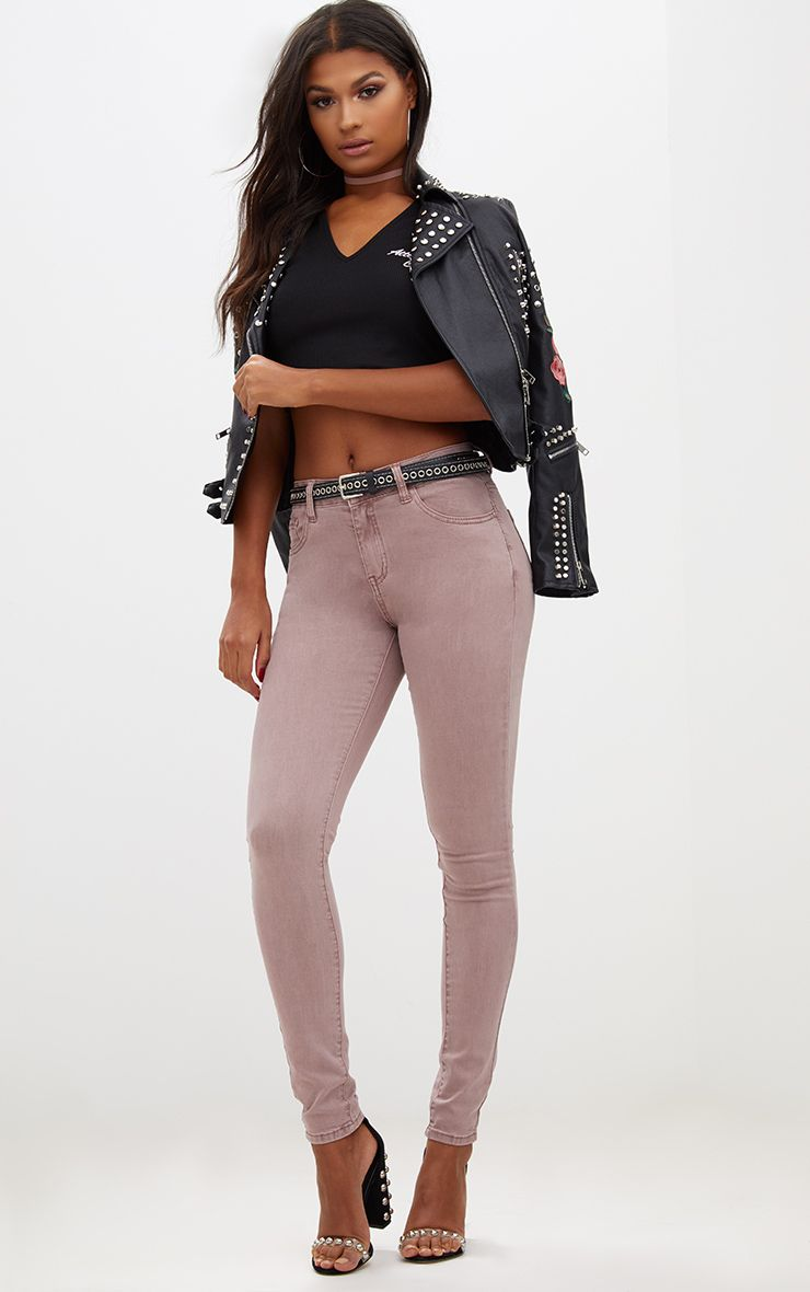 Dusty Pink High Waisted Skinny Jean