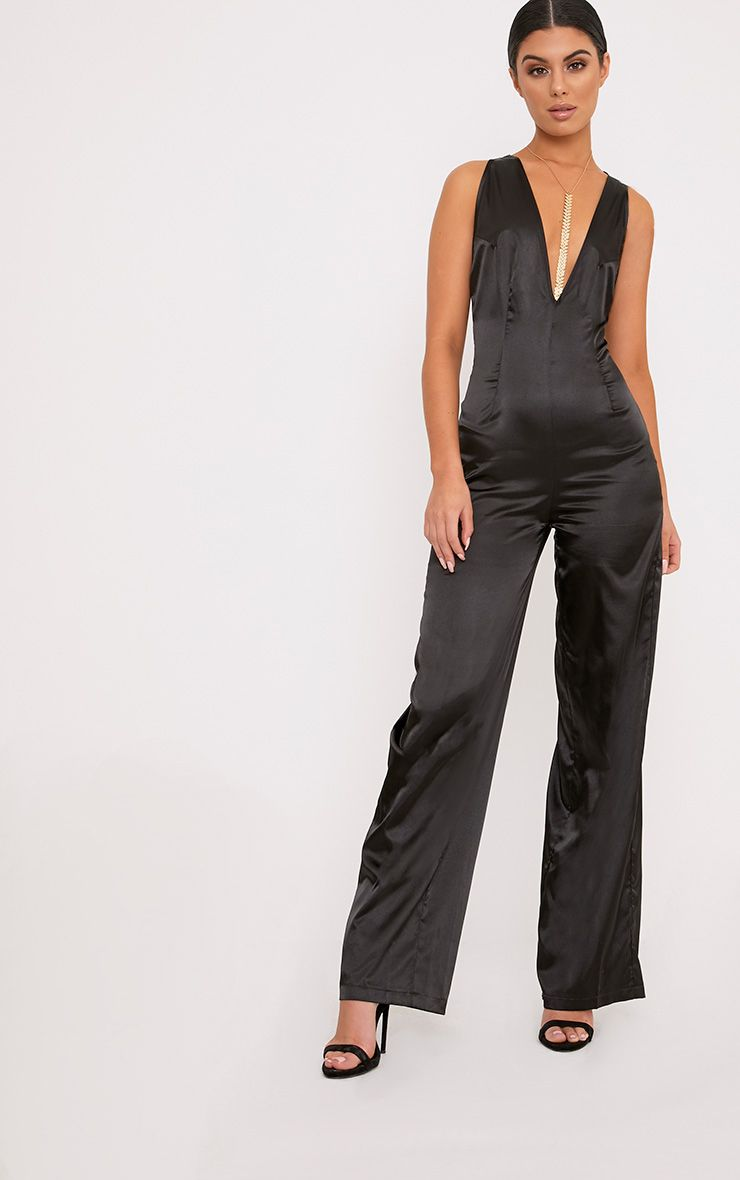 Leona Black Satin Clip Back Jumpsuit
