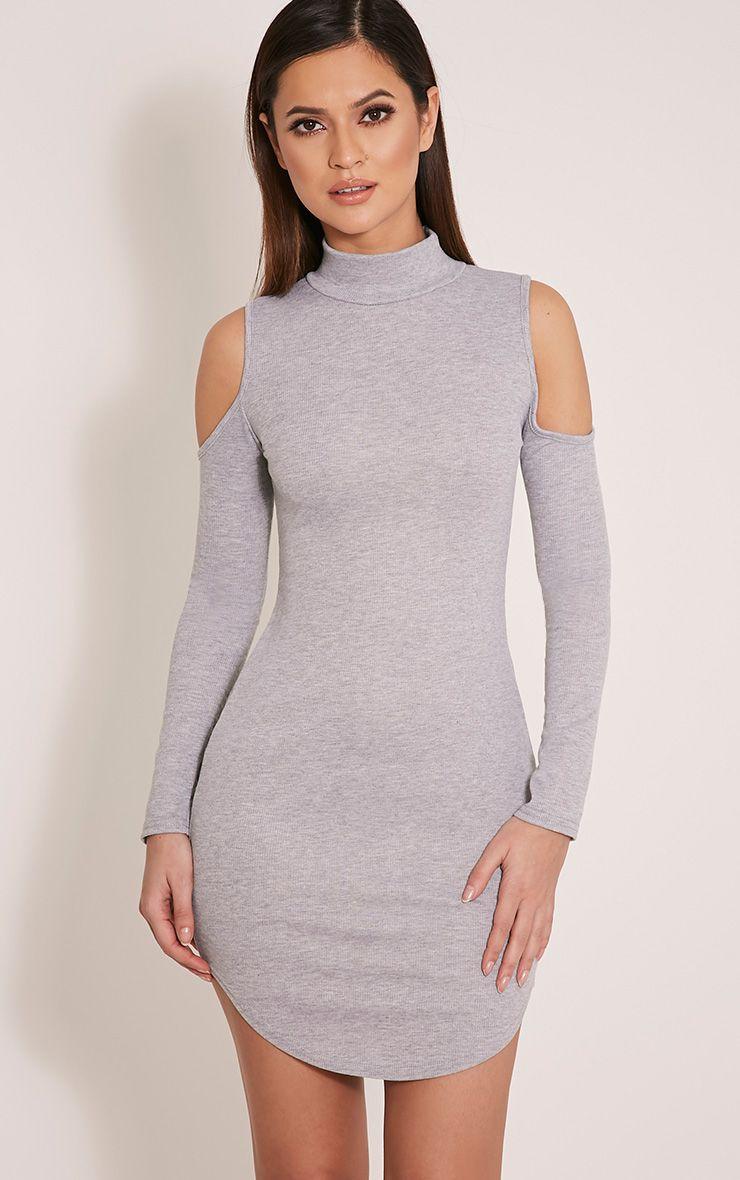 Renny Grey Ribbed Cold Shoulder Dress 1
