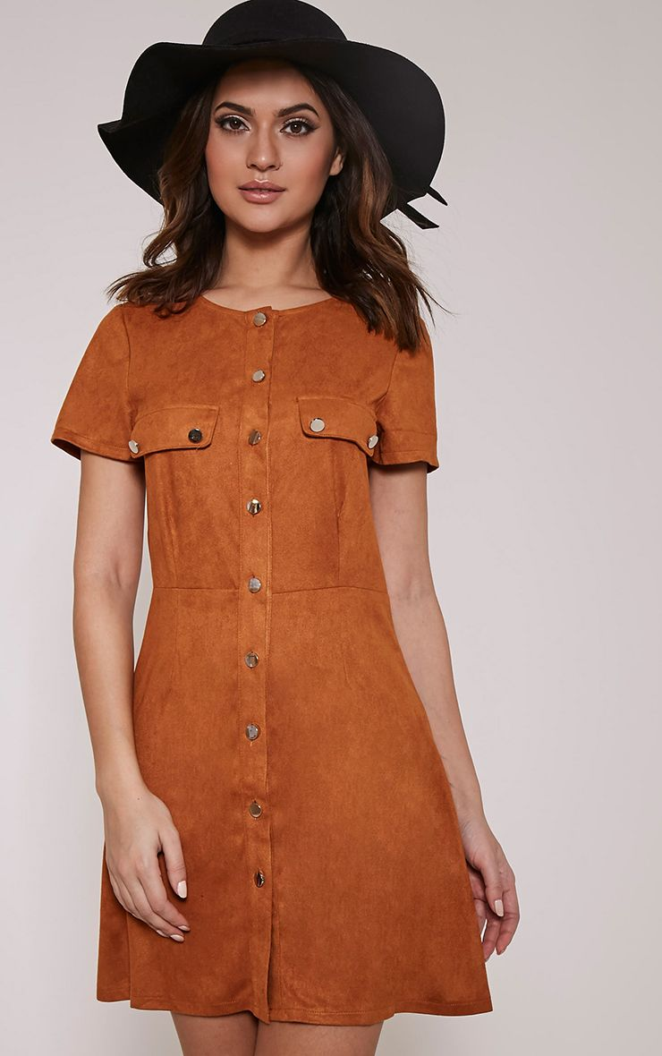 Estella Tan Button Front Suede Shift Dress 1