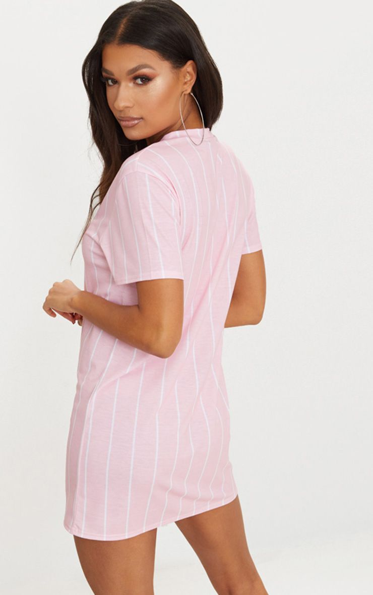 Pastel Pink Stripe Print T Shirt Dress Shop The Range Of
