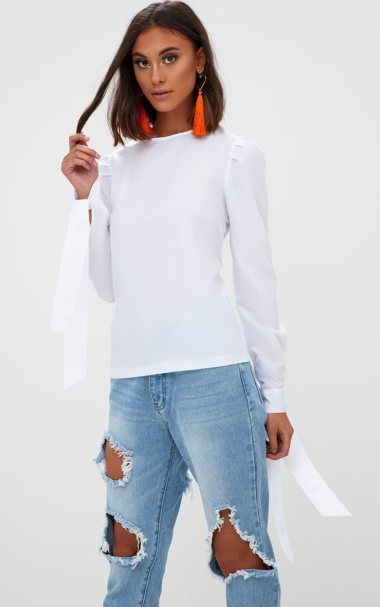 White lace up back tie sleeve shirt tops prettylittlething for How to make a tie back shirt
