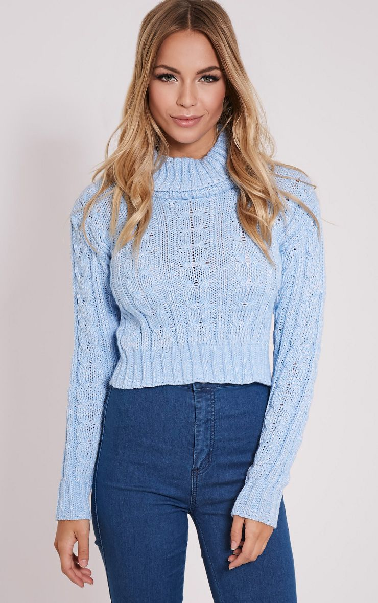 Brook Blue Cable Knit Roll Neck Crop Jumper 1