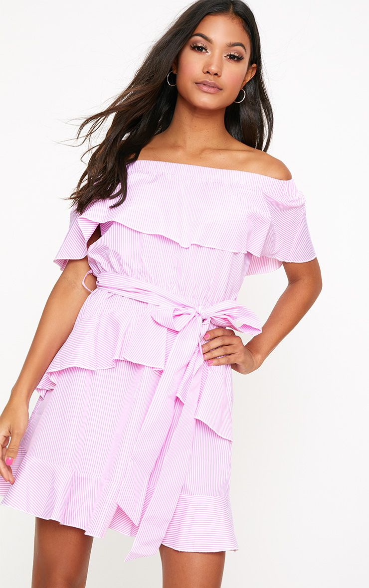 Pink Striped Bardot Ruffle Detail Tie Dress