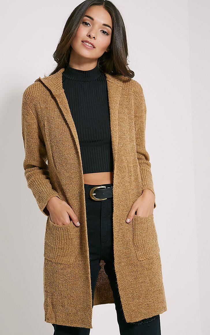 Selene Camel Knitted Hooded Cardigan 1