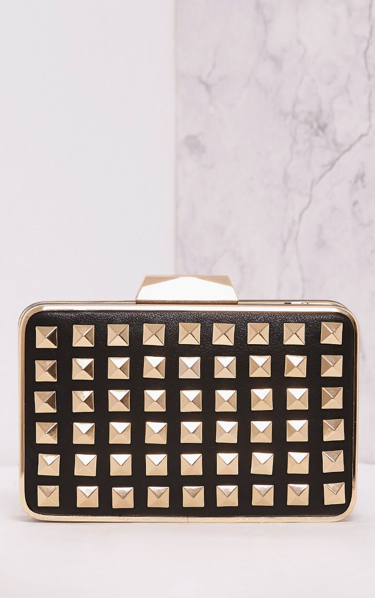 Roxane Black Gold Studded Box Clutch