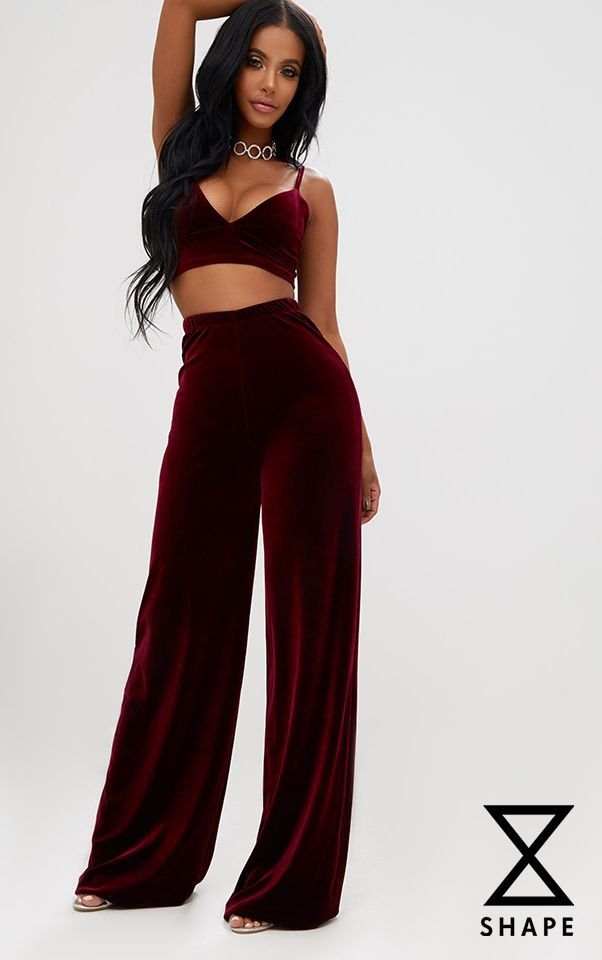 Shape Wine Velvet Wide Leg Trousers