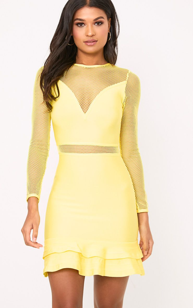 Yellow Fishnet Frill Hem Bandage Bodycon Dress