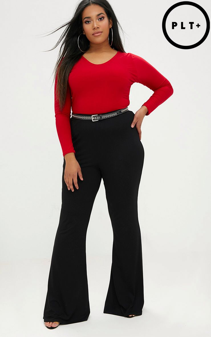 Plus Black Basic Flared Trousers