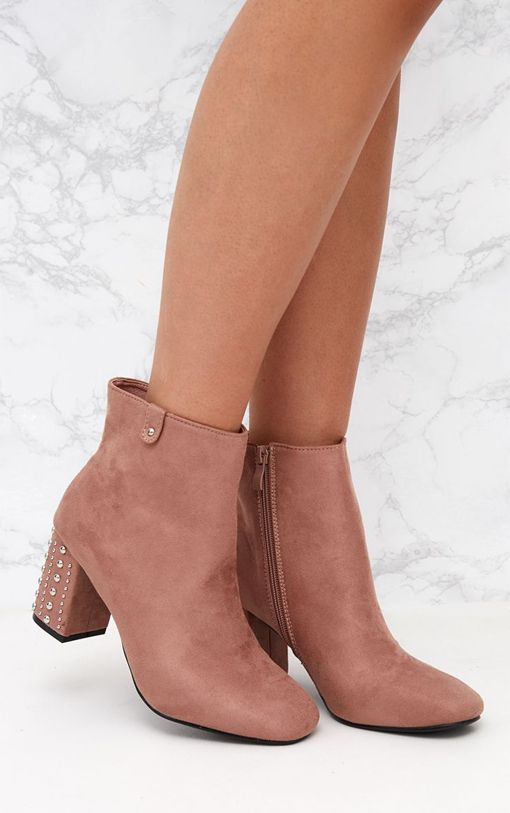 Blush Faux Suede Studded Heel Ankle Boots 1