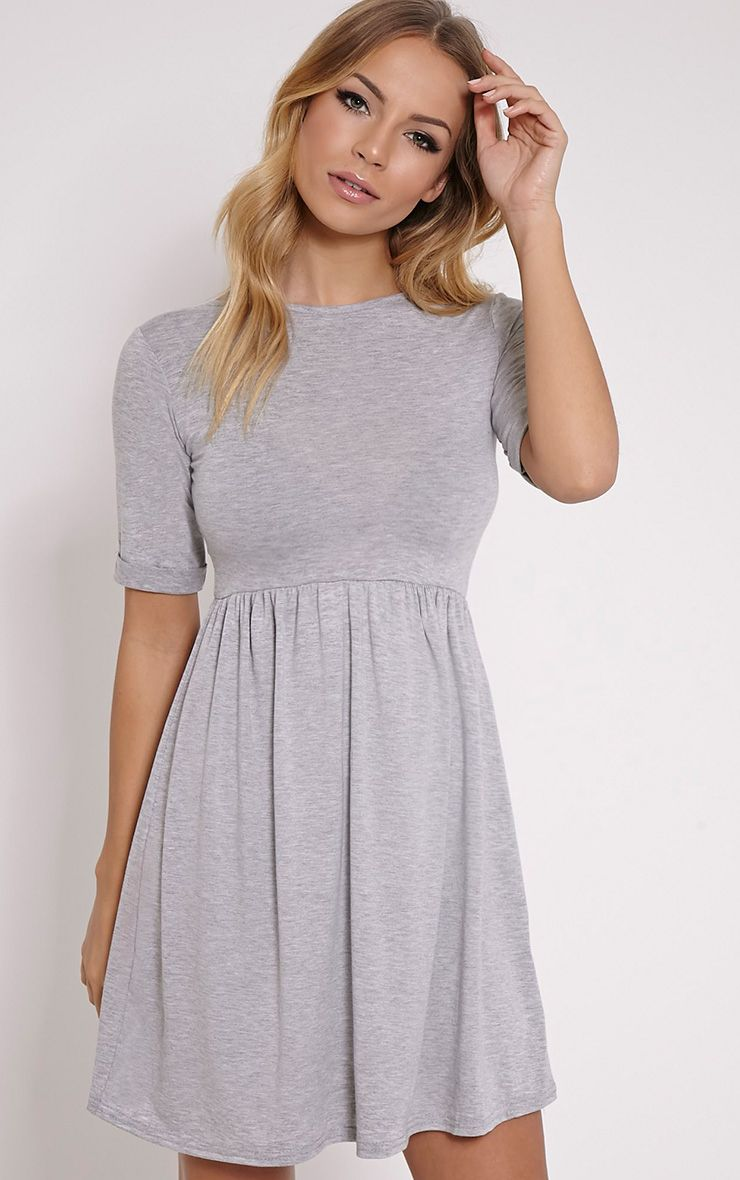 Basic Grey 3/4 Scoop Back Jersey Skater Dress 1