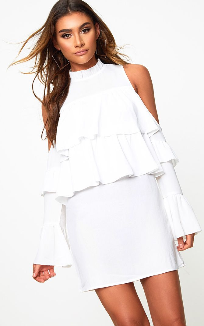 White Cold Shoulder Ruffle Detail Shift Dress