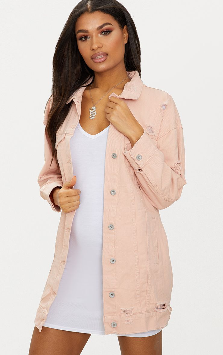 Pink Longline Distressed Denim Jacket