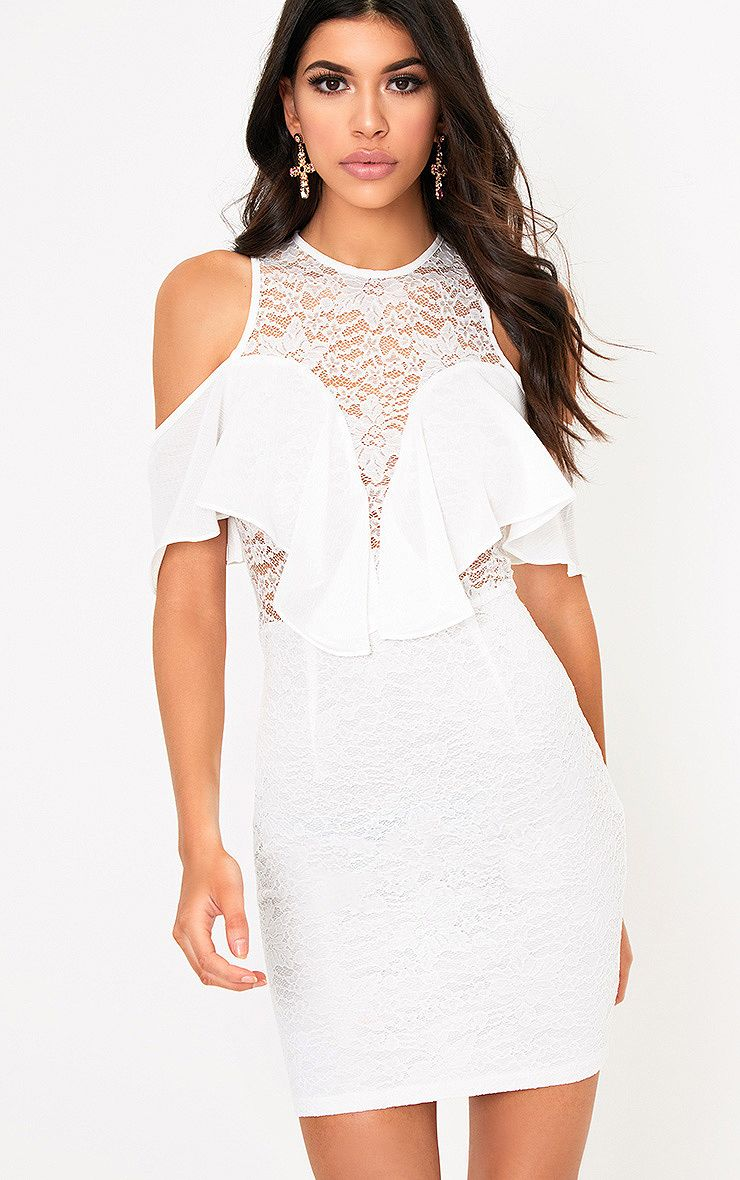 Esme White Lace Cold Shoulder Bodycon Dress