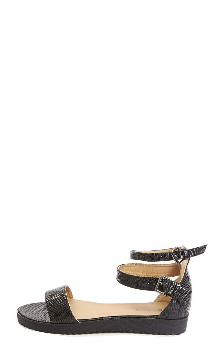 Gwen Black Leather Lizard Sandal 1