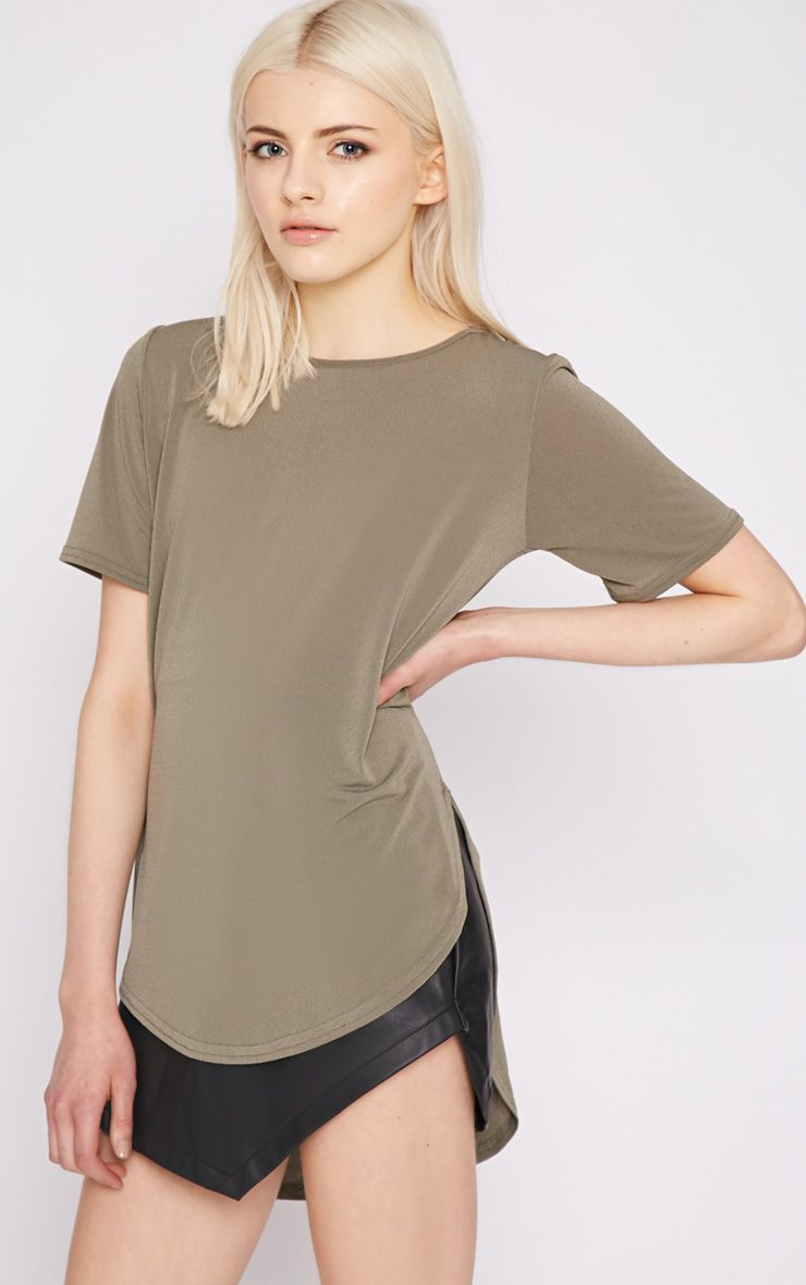 Dora Khaki Dipped Hem Top 1