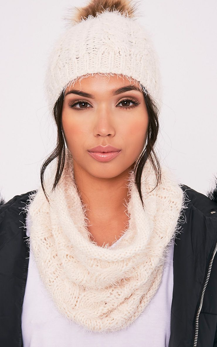 Two Pack Cream Bobble Hat Snood