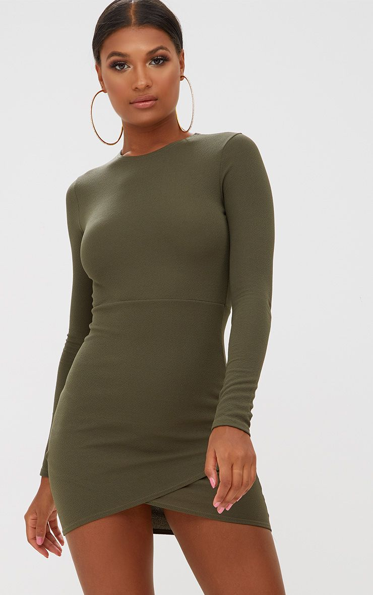 Khaki Long Sleeve Wrap Skirt Bodycon Dress