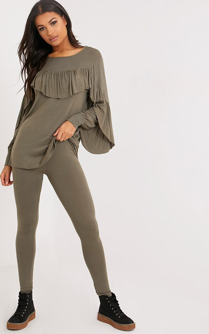 Dara Khaki Ruffle Sleeve Top & Leggings Set