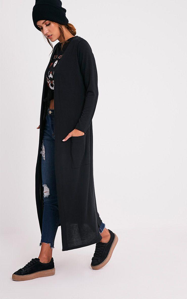Liona cardigan maxi avec ceinture noir 4