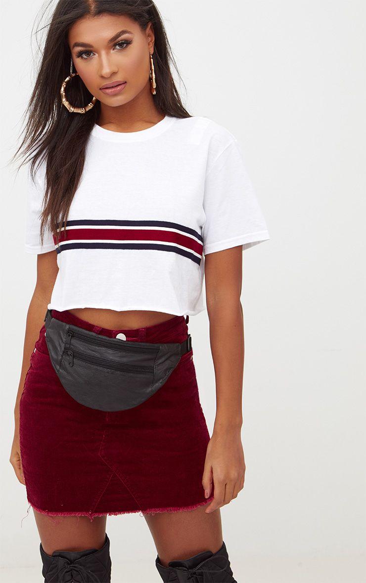 White Sporty Tape Crop T Shirt