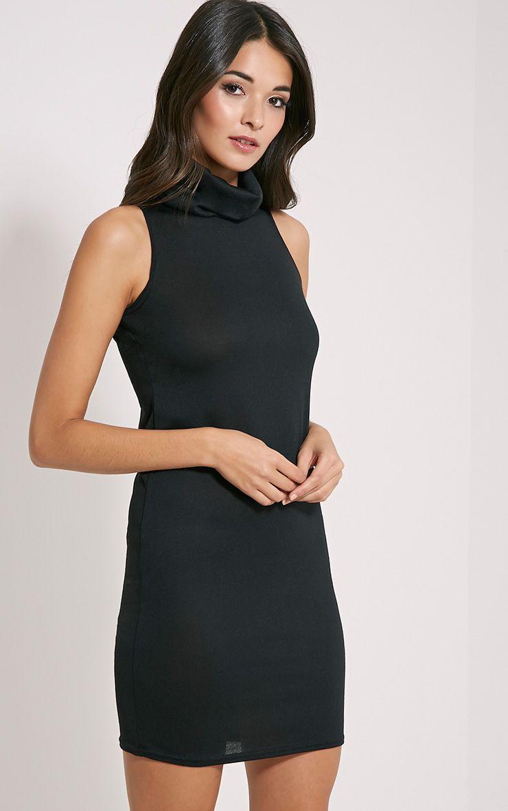 Yelena Black Knitted Marl Roll Neck Dress 1