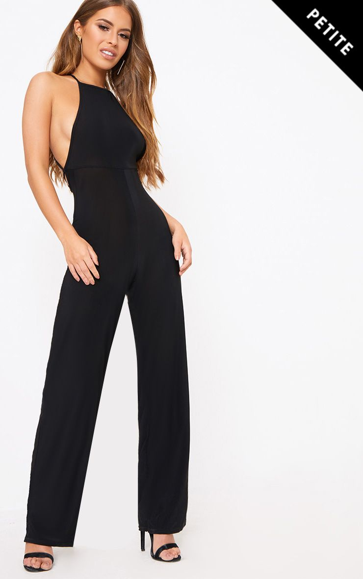 Petite Black Tie Back Strappy Jumpsuit