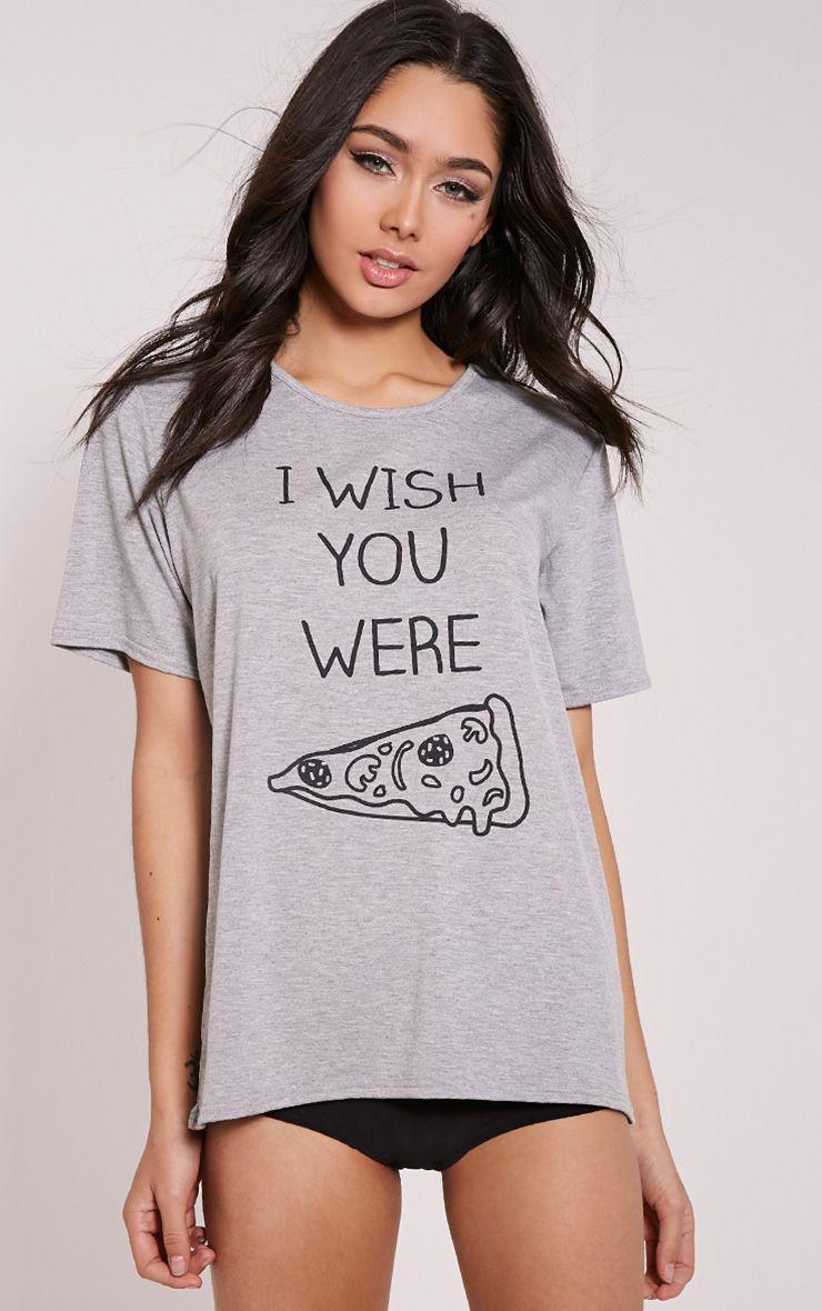 I Wish You Were Pizza Grey Knicker Pyjama Set 1