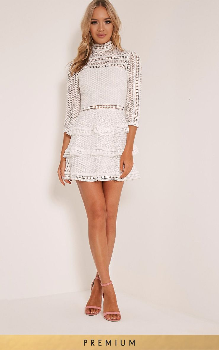 Caya White Premium Lace Panel Tiered Mini Dress