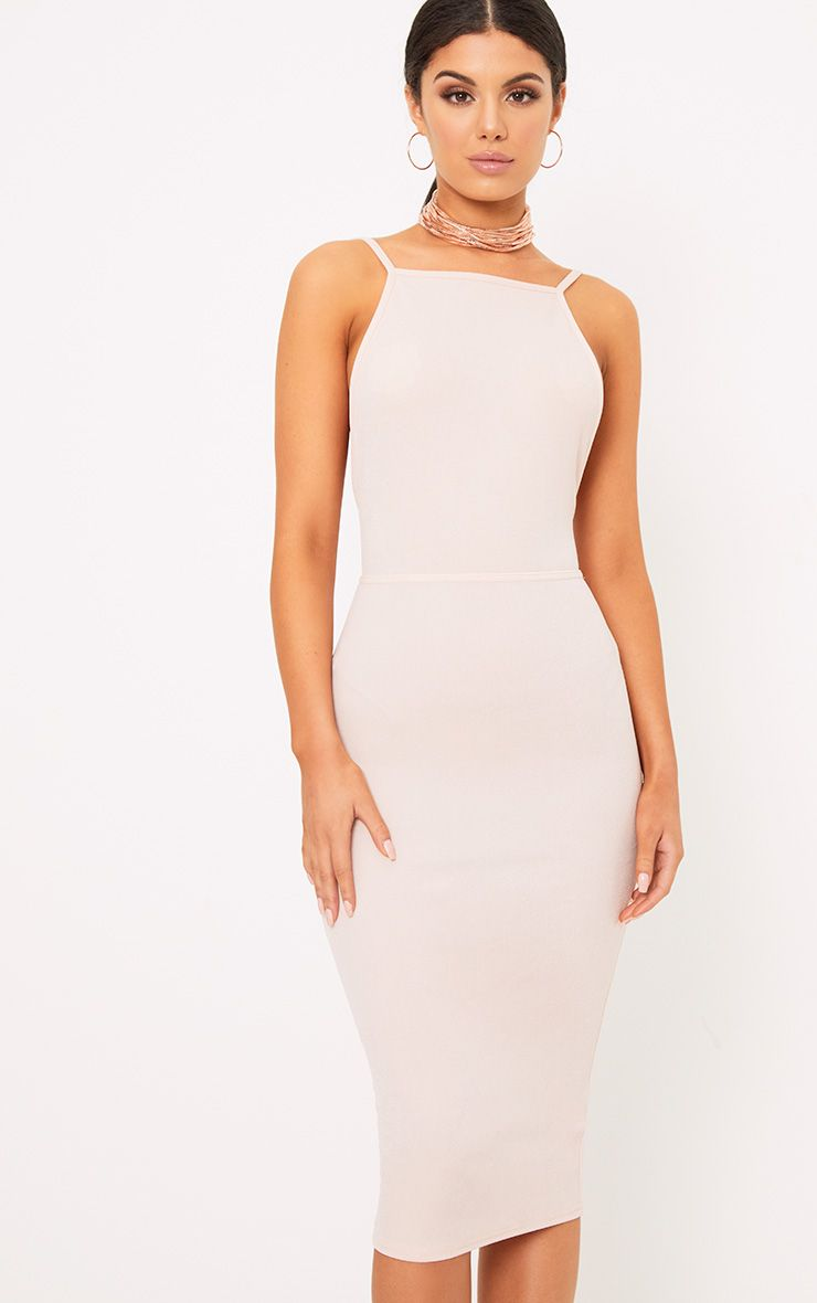 Nude Strappy Open Back Midi Dress