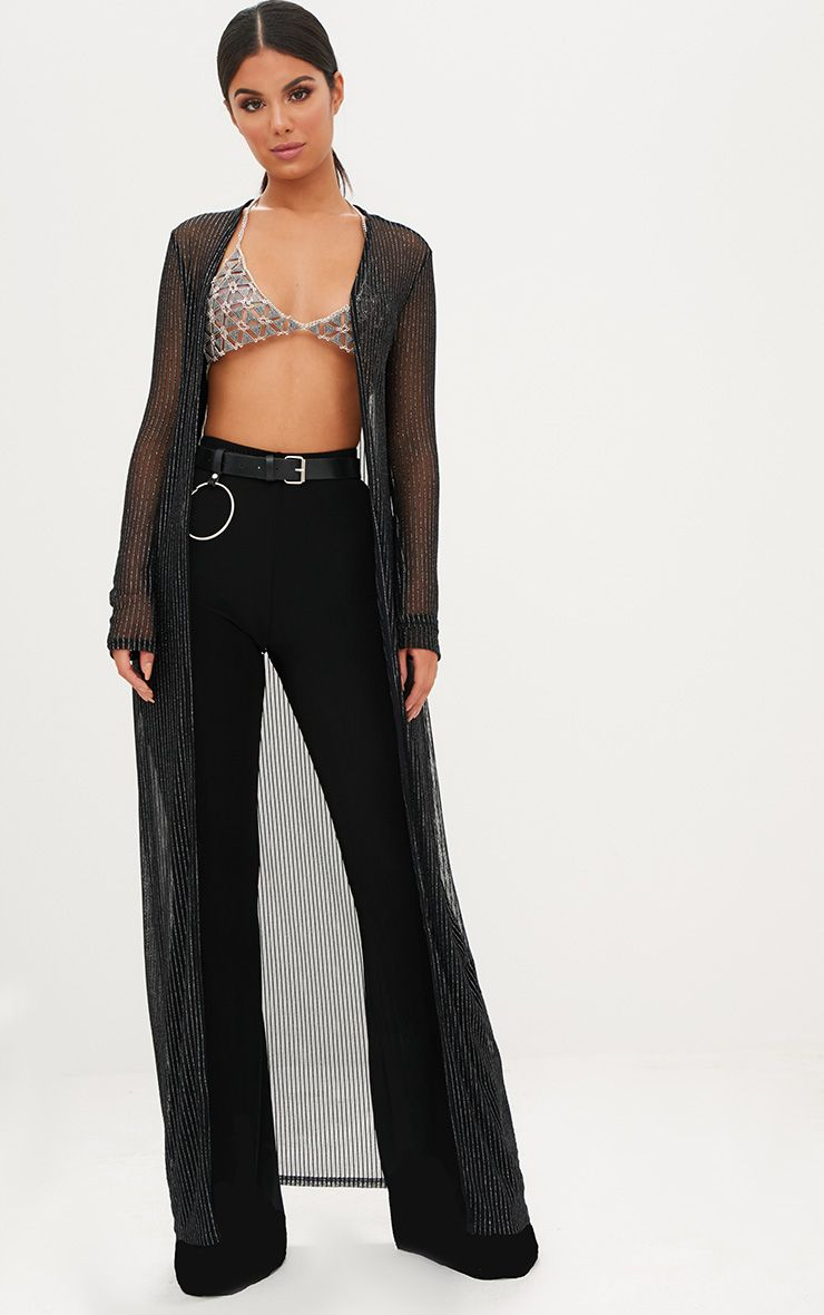Black Metallic Stripe Sheer Kimono