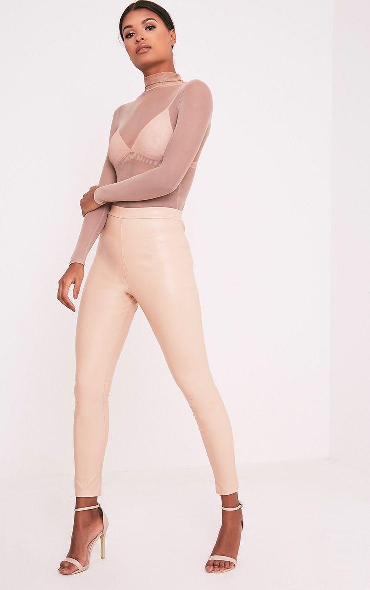 Taryn Nude Faux Leather Leggings