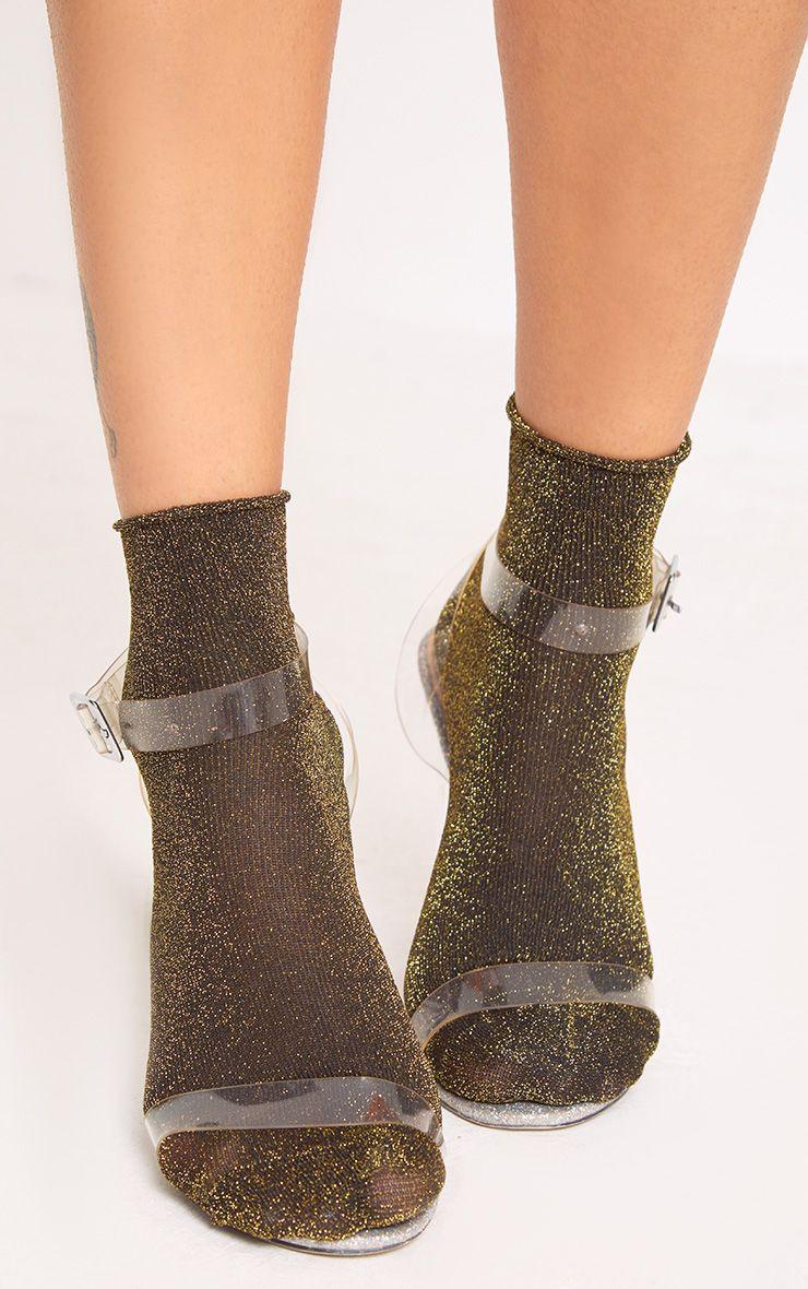Gold 3 Pack Of Glitter Socks