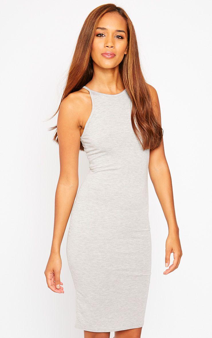 Basic Grey Jersey Racer Neck Dress 1